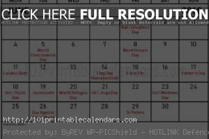 June 2018 Calendar Holidays