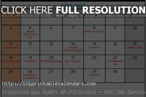 June 2018 Calendar with Holidays