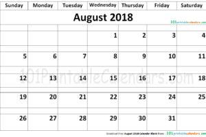 August 2018 Calendar Blank