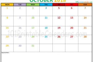 October 2018 Calendar Editable