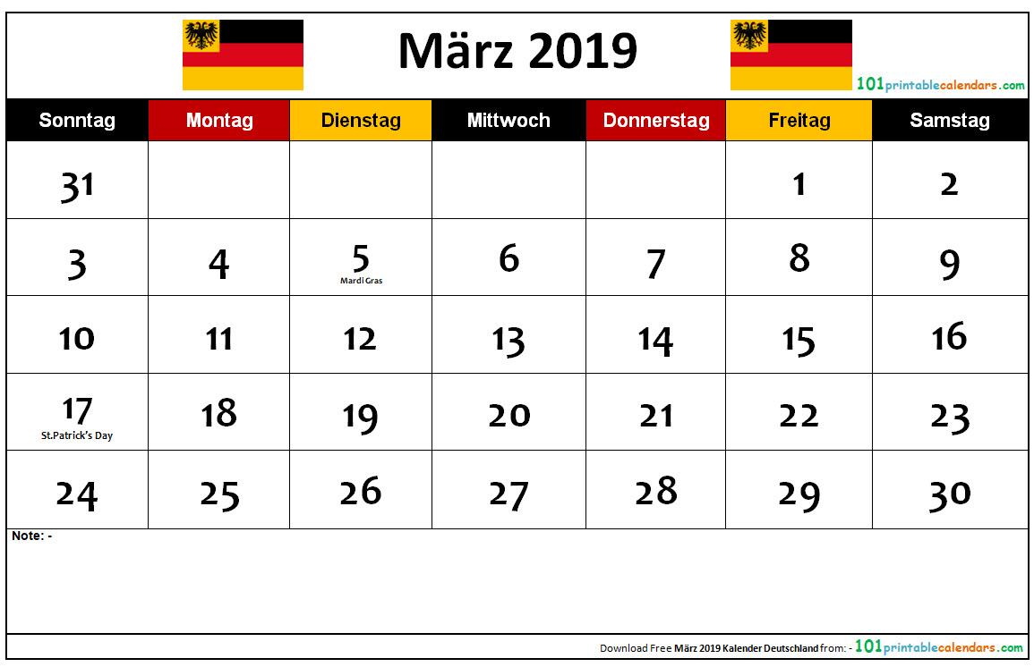 März 2019 Kalender Deutschland